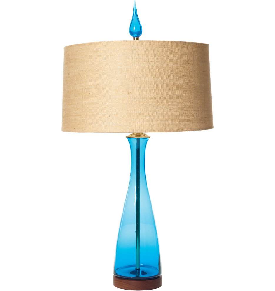 Blenko Handblown Turquoise Carafe Table Lamp by Rejuvination