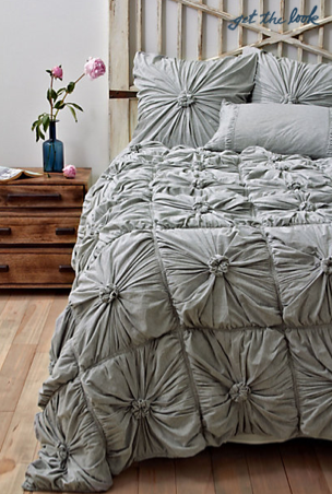 Rosette Quilt in Light Grey, Anthropologie