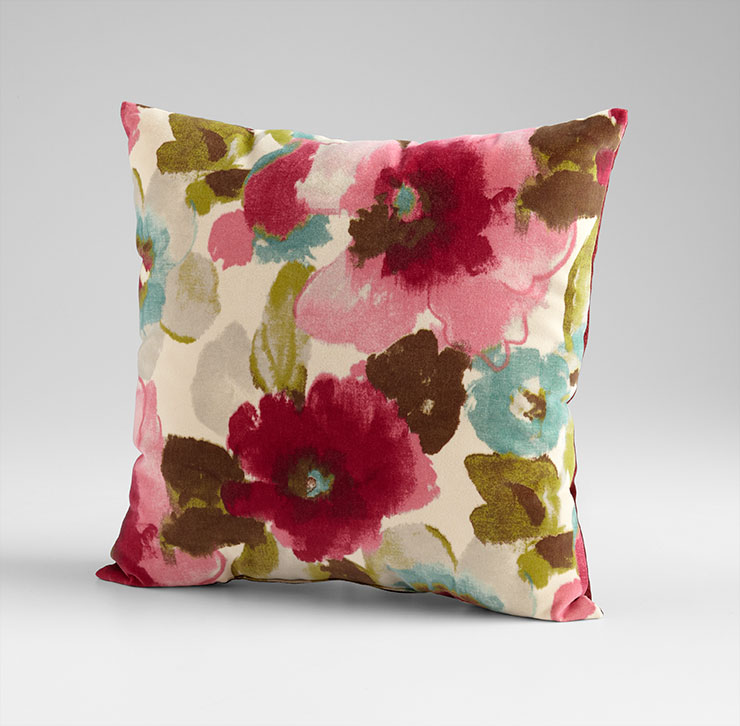 Zinnia Pillow, Cyan Design