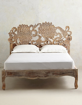 Handcarved Lotus Bed, Anthropologie