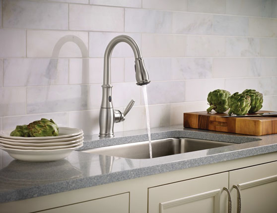 Brantford with MotionSense Spot Resist stainless one-handle high arc pulldown kitchen faucet