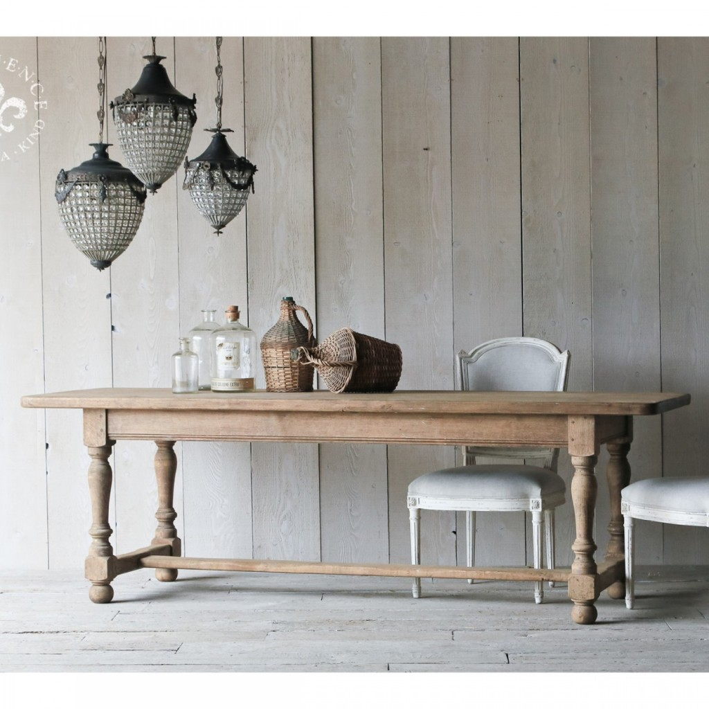 French Country Rustic Antique Farm Table, The Bella Cottage