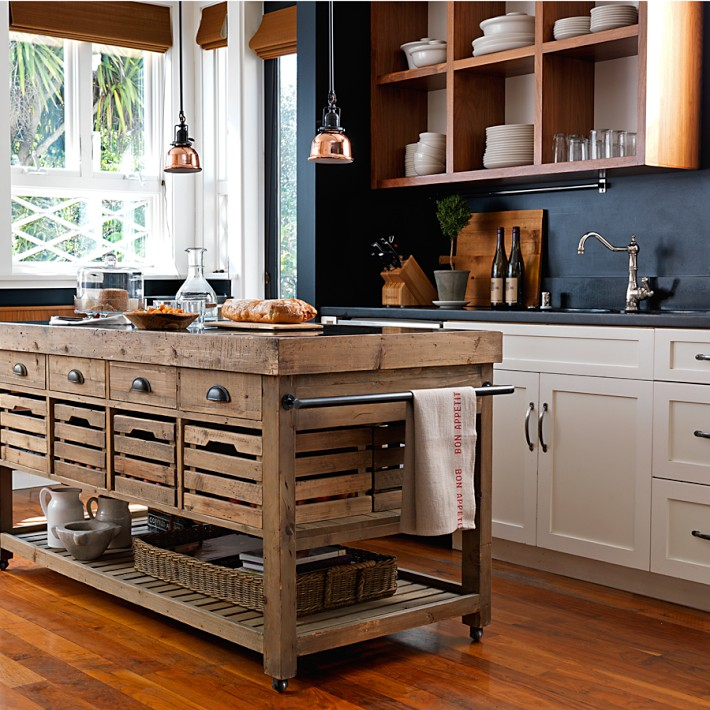 Stone Top Double Kitchen Island, Williams Sonoma