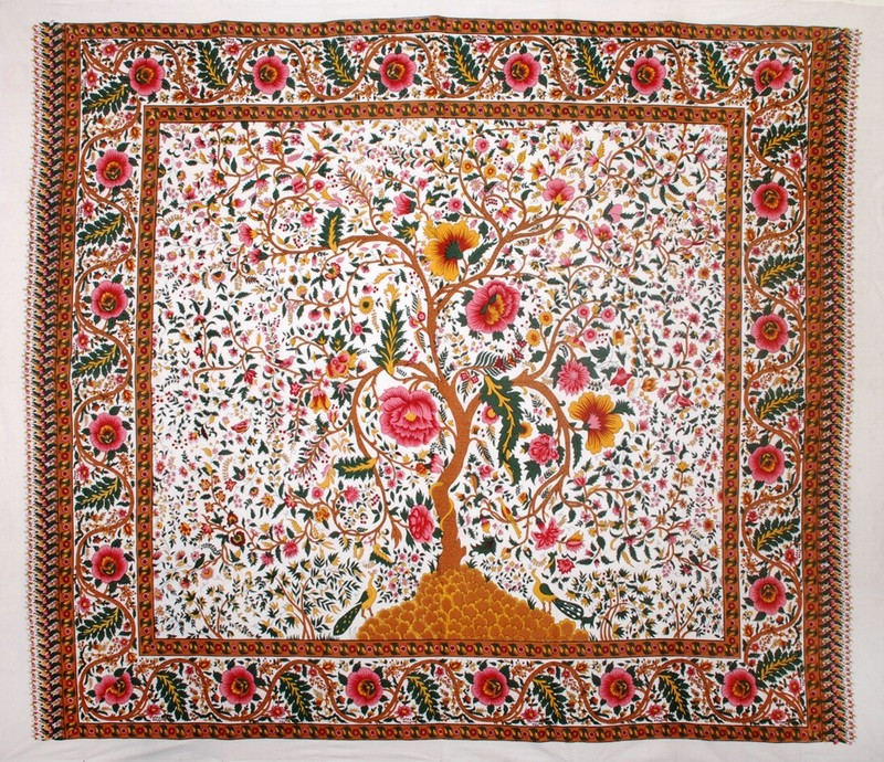 Horizontal Tree of Life Tapestry, India Arts