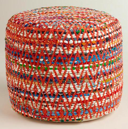 Multi-Color Round Chindo Pouf, World Market