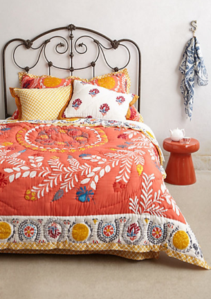 Zocalo Embroidered Quilt, Anthropologie
