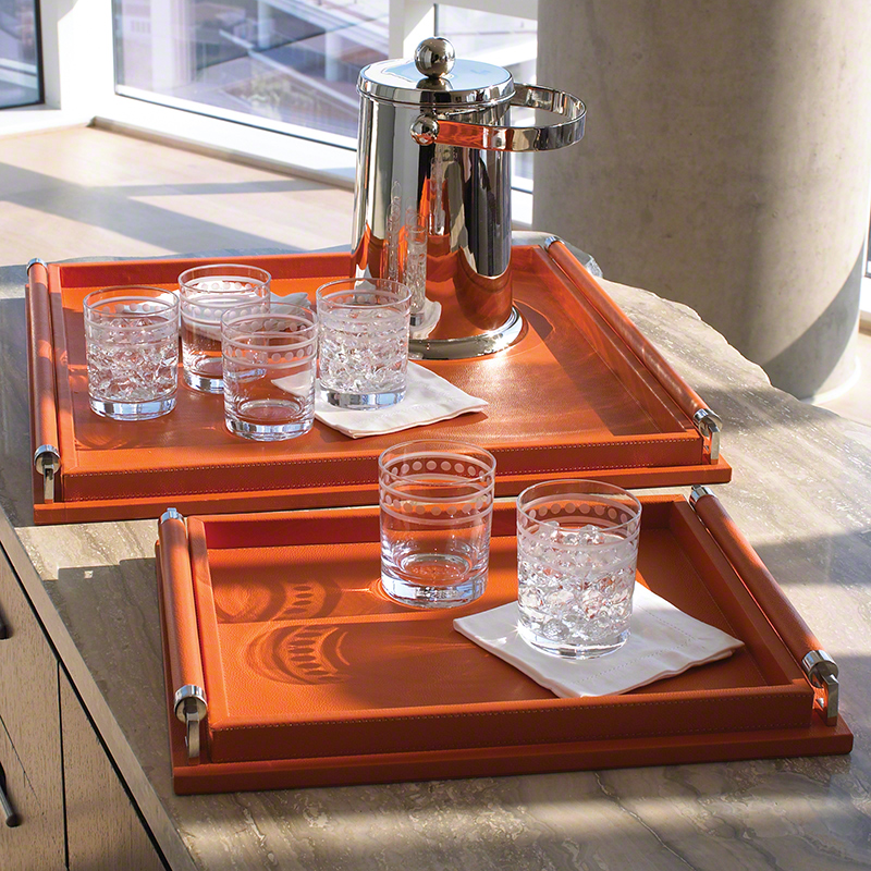 Wrapped Handle Tray-Coral Leather, Studio A