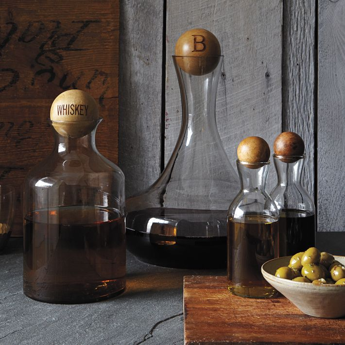 Glass Bottles with Wood Stoppers, West Elm