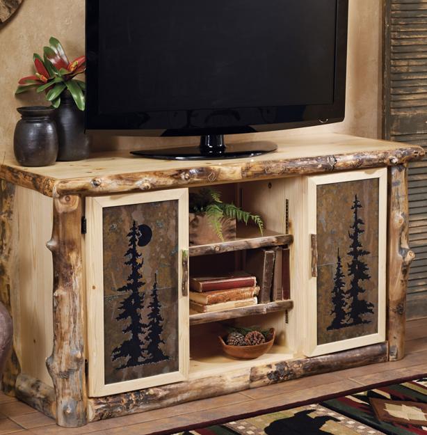 Aspen Log Natural Slate TV Console, Black Forest Decor