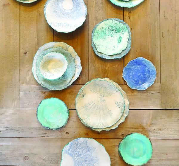 Handmade Ceramic Collection with Lace Design, Cottage Coastal