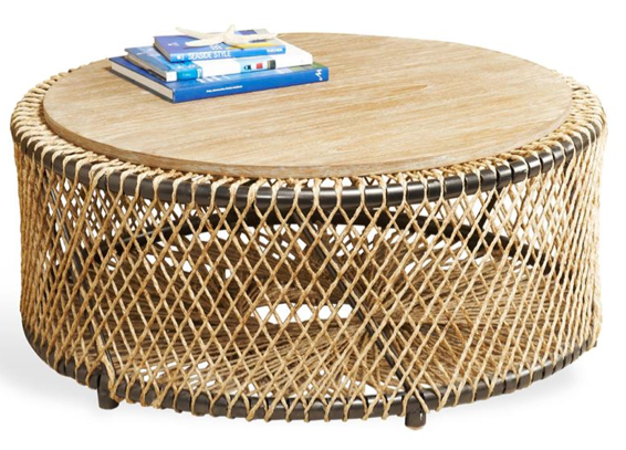 Saranda Beach Style Wood Rope Round Coffee Table , Kathy Kuo Home