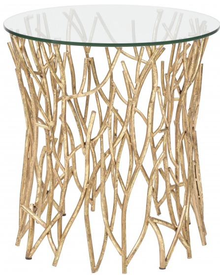 Italian Gold Round Iron Twig Table, High Fashion Home