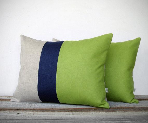 Color Block Stripe Pillow in Lime Green, Navy and Natural Linen, Jillian Rene Decor
