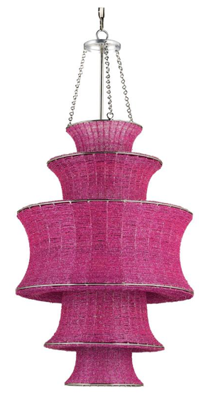 Fuchsia Magenta Tiered Beaded Glass Modern Pendant, Kathy Kuo Home
