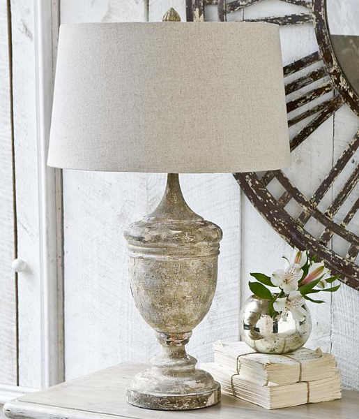 Gesso Wood Vase Table Lamp, Cottage & Bungalow