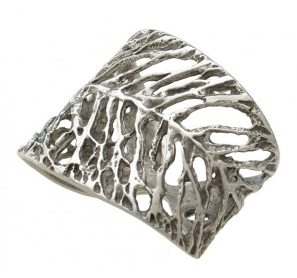 Dry Leaf Pewter Napkin Ring, Set of 2, Kouboo