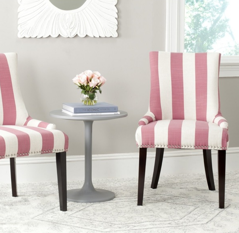 Safavieh Lester Pink/ White Stripe Dining Chair (Set of 2), Available via Overstock.com