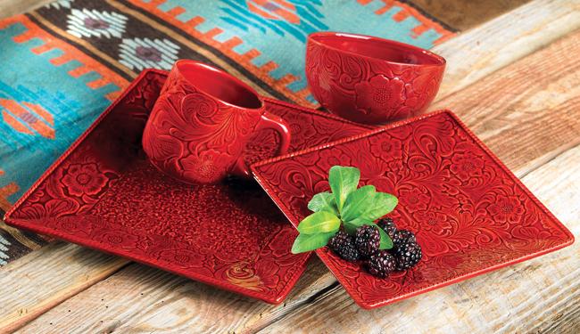 Savannah Red Dinnerware Set, Black Forest Decor