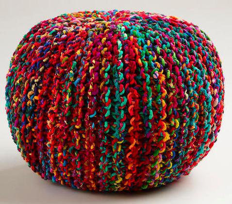 Multicolored Knitted Sari Pouf, World Market