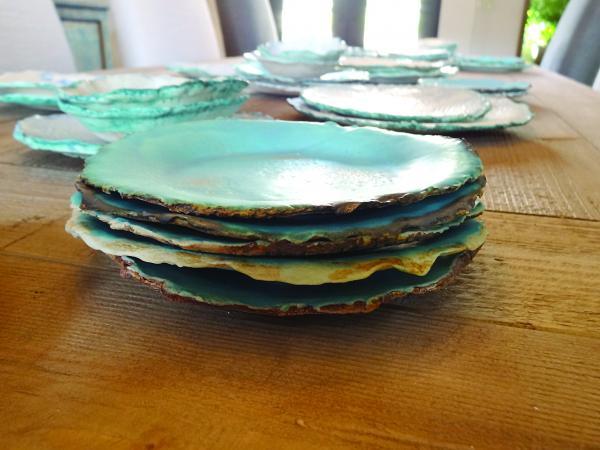 Handmade Ceramic Large Plate with Lace Design, Cottage Coastal