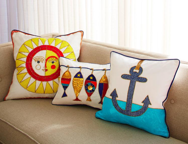 Côte d'Azur Anchor Throw Pillow, Jonathan Adler