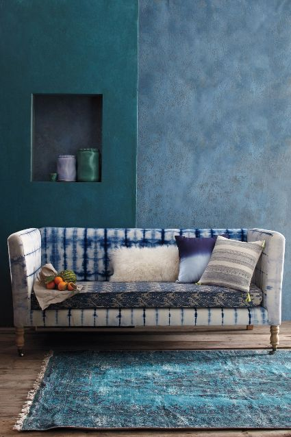 Hand-Dyed Shibori Sofa, Anthropologie